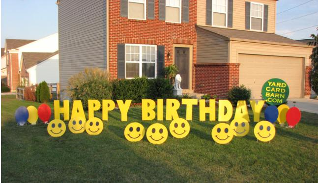 Display 3 Happy Birthday Lawn Letters